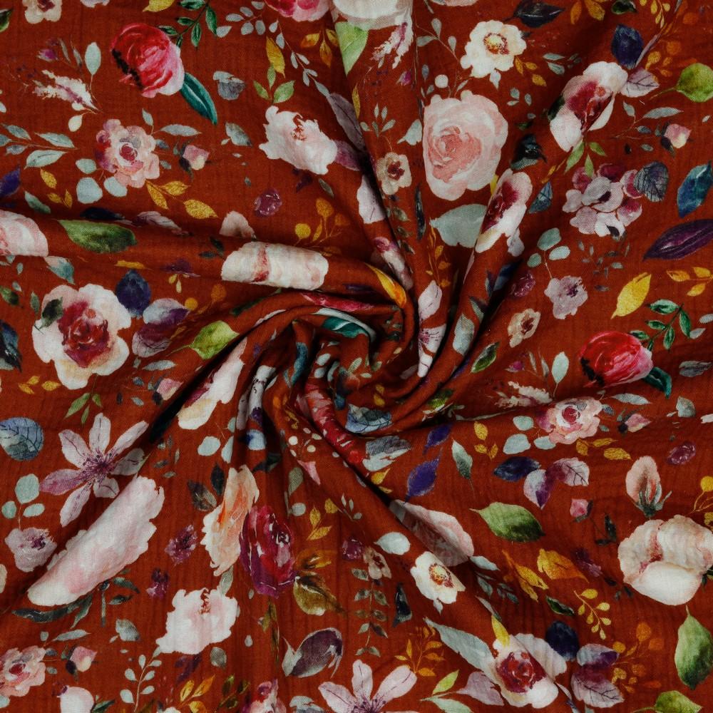 Musselin Blumen auf Rost