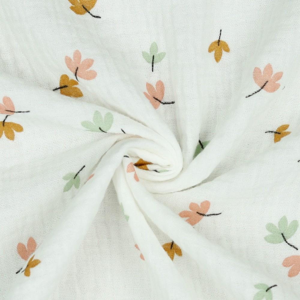 Musselin Herbst Blätter auf Weiß