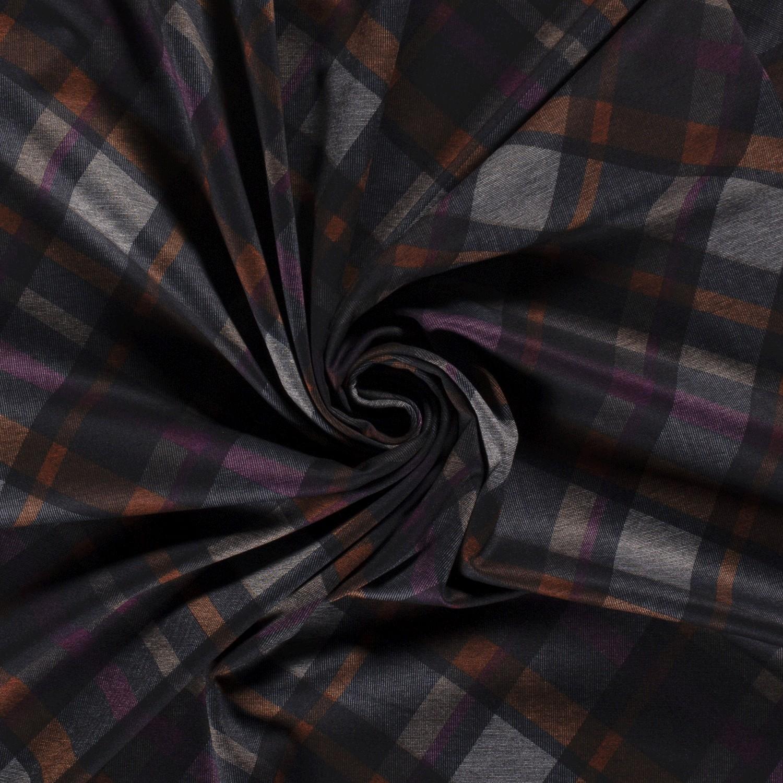 Romanit Jersey -  Check Pflaume/Orange/Grau/Jeans