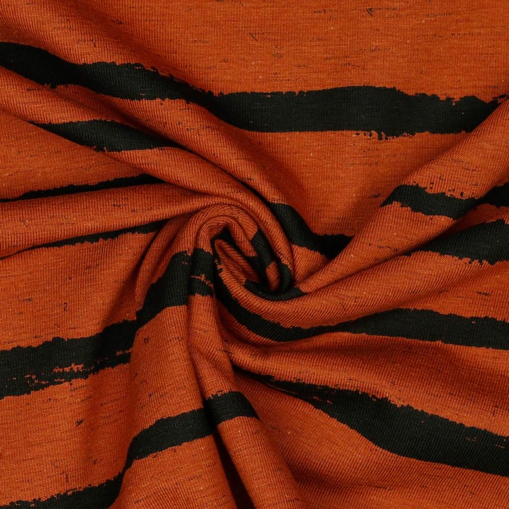 Baumwolljersey Italia Stripes Rost