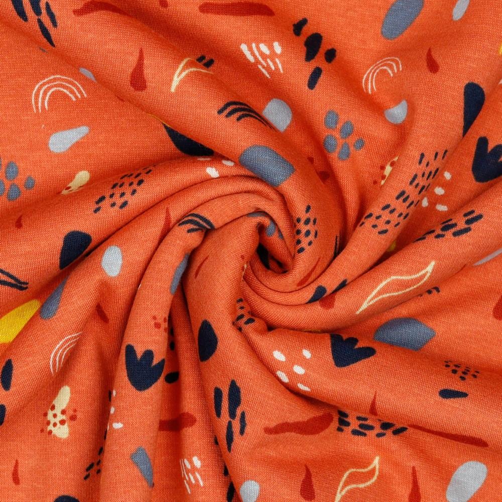 Alpenfleece Muster auf Orange