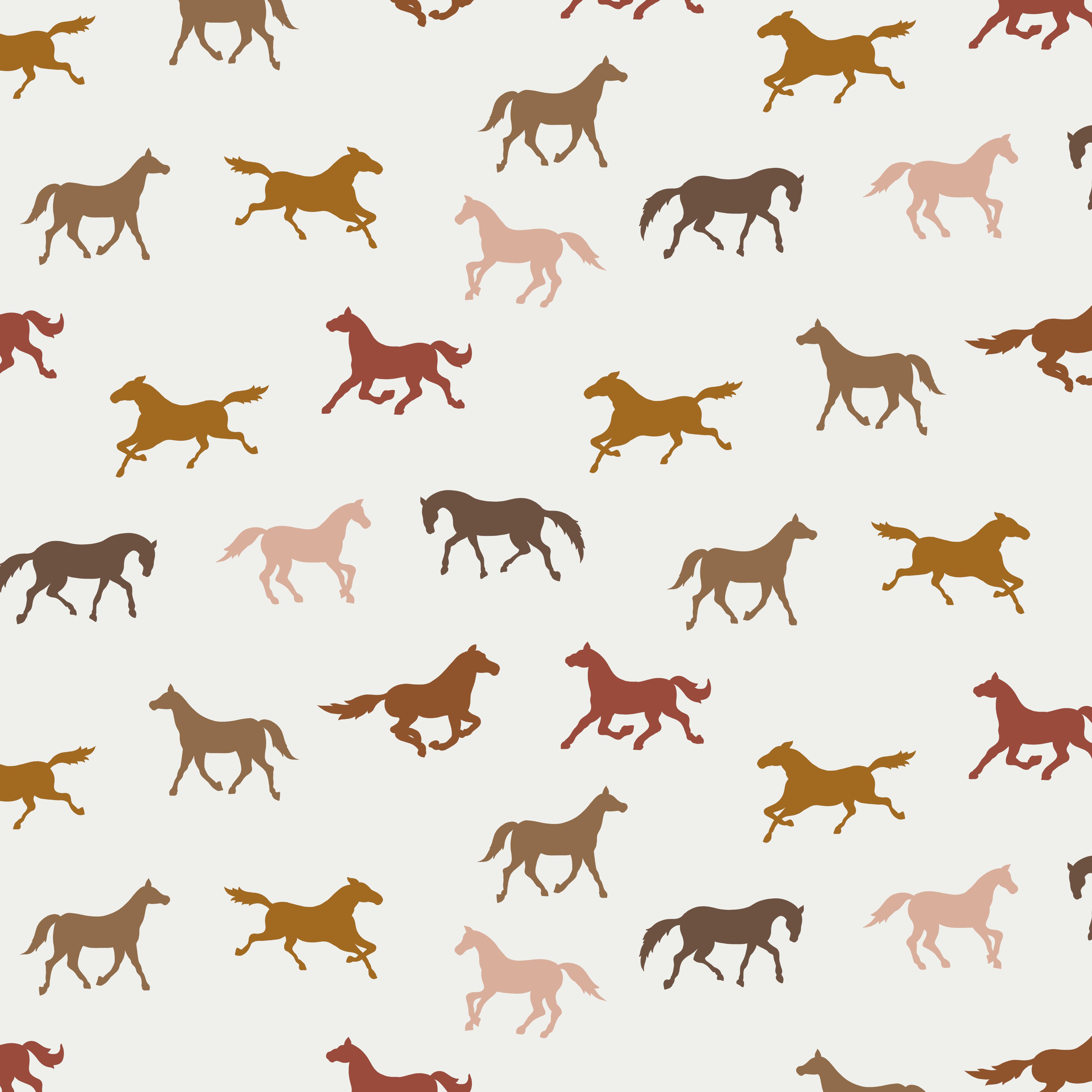 Baumwolljersey  Pferde auf Ecru