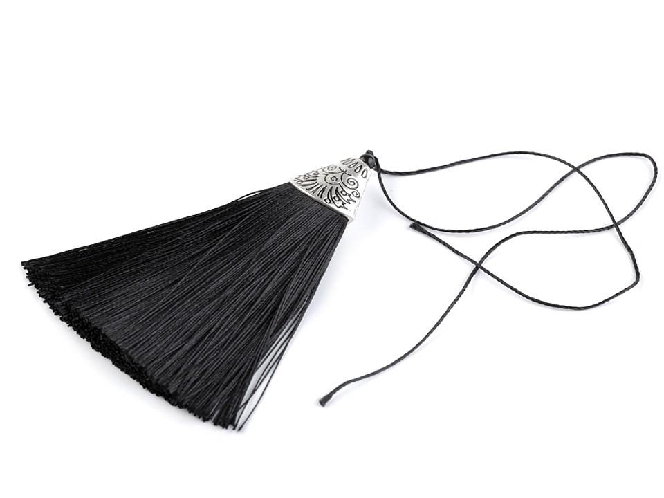 Anhänger Tassel mit Ornament Kappe  Schwarz