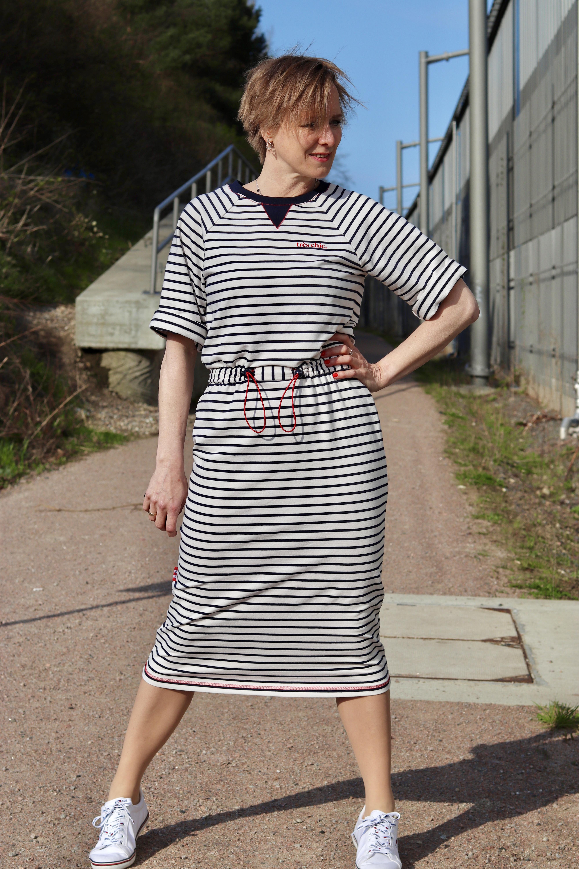 Crew Box Fibre Mood Joy Navy Stripes auf Creme XS-XL