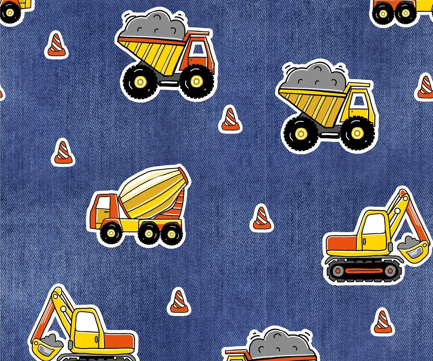 Baumwolljersey  Jeanslook Baustellenfahrzeuge