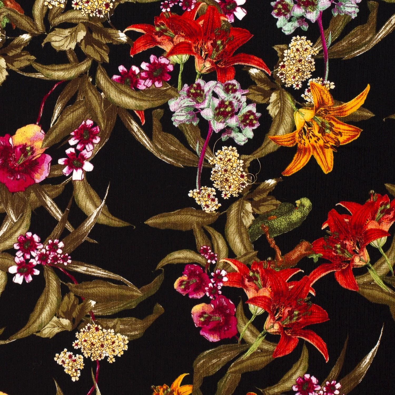 Viskose Crepe Herbst Lilien auf Schwarz