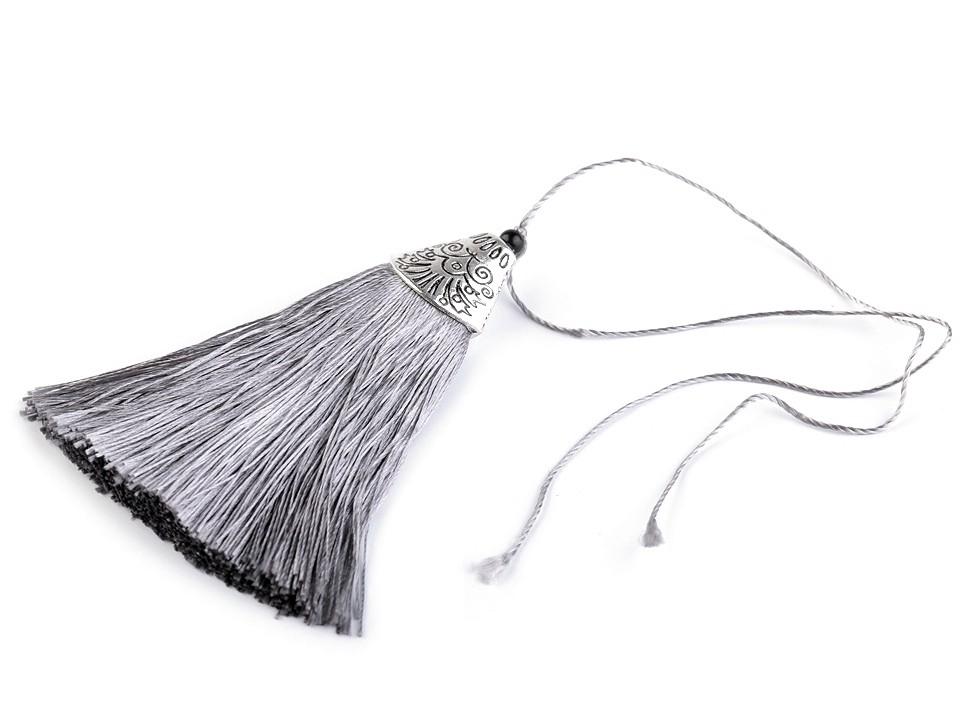 Anhänger Tassel mit Ornament Kappe Silbergrau