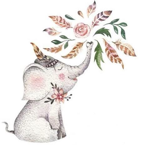 Bügelbild Boho Elefant