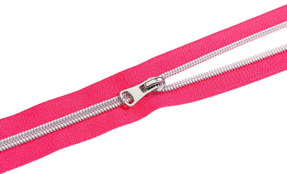 endlos Reißverschluss Pink Silber 5m