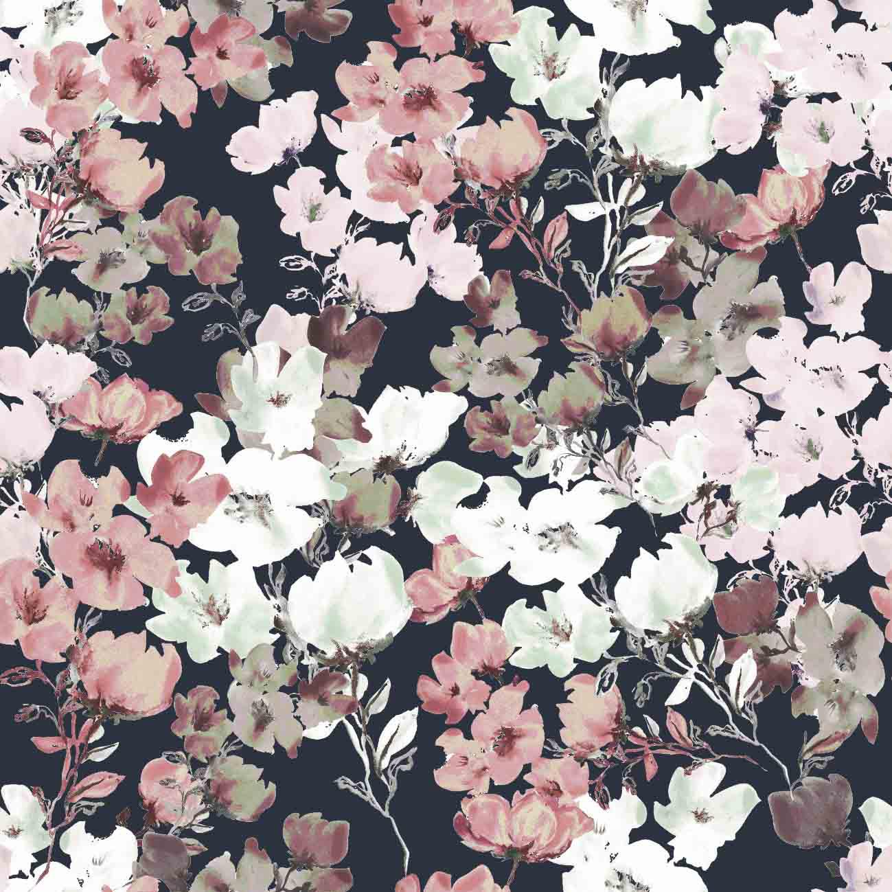 Baumwolljersey Aquarell Flowers Navy