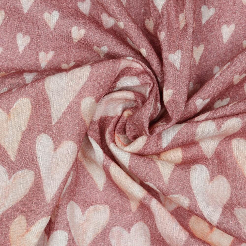 Musselin Herzen Old Rose