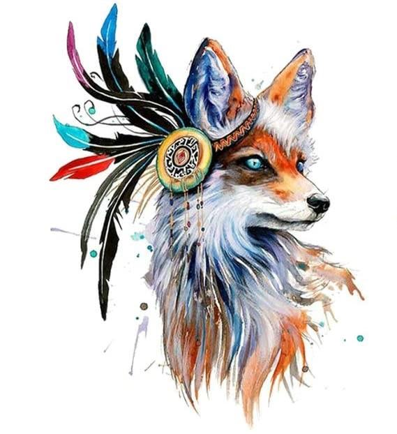 Bügelbild Indian Fox