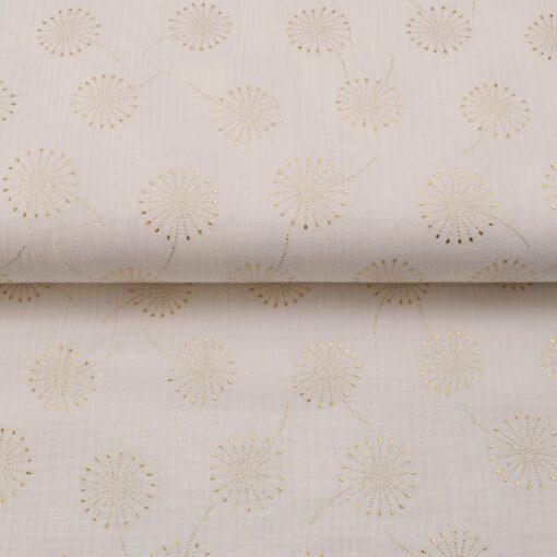 Musselin goldene Pusteblumen auf Weiß