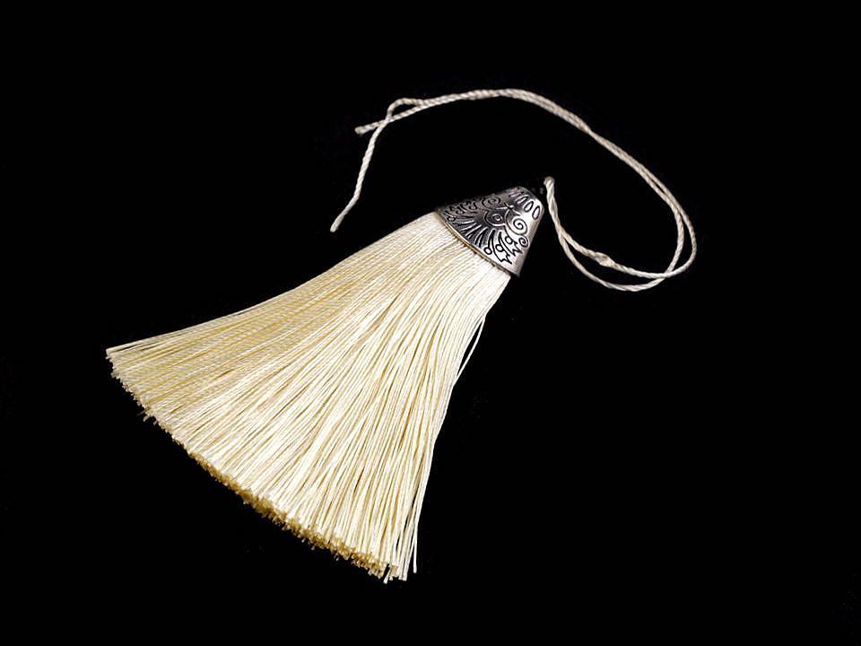 Anhänger Tassel mit Ornament Kappe  Beige