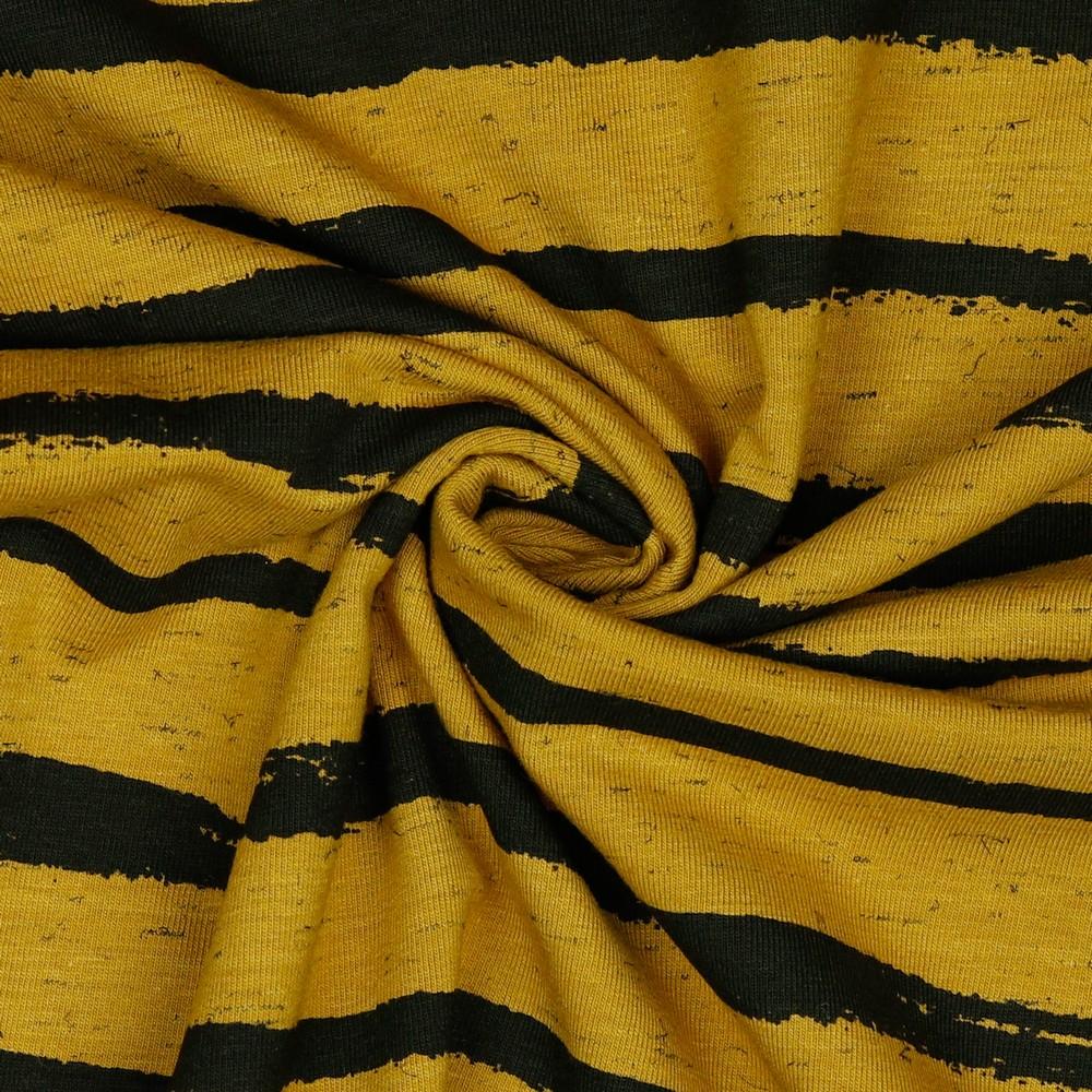 Baumwolljersey Italia Stripes Senf