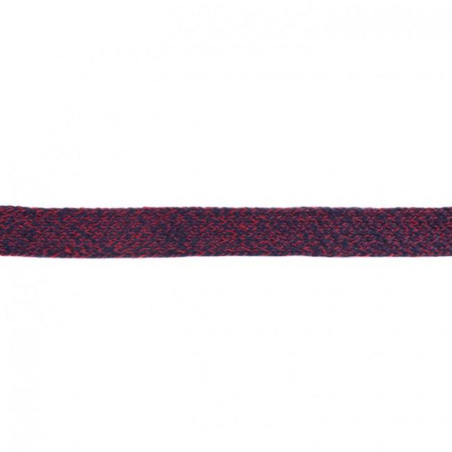 Flachkordel meliert Navy Bordeaux  20 mm