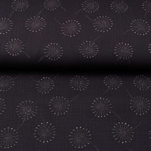 Musselin Metallic Pusteblumen auf Schwarz