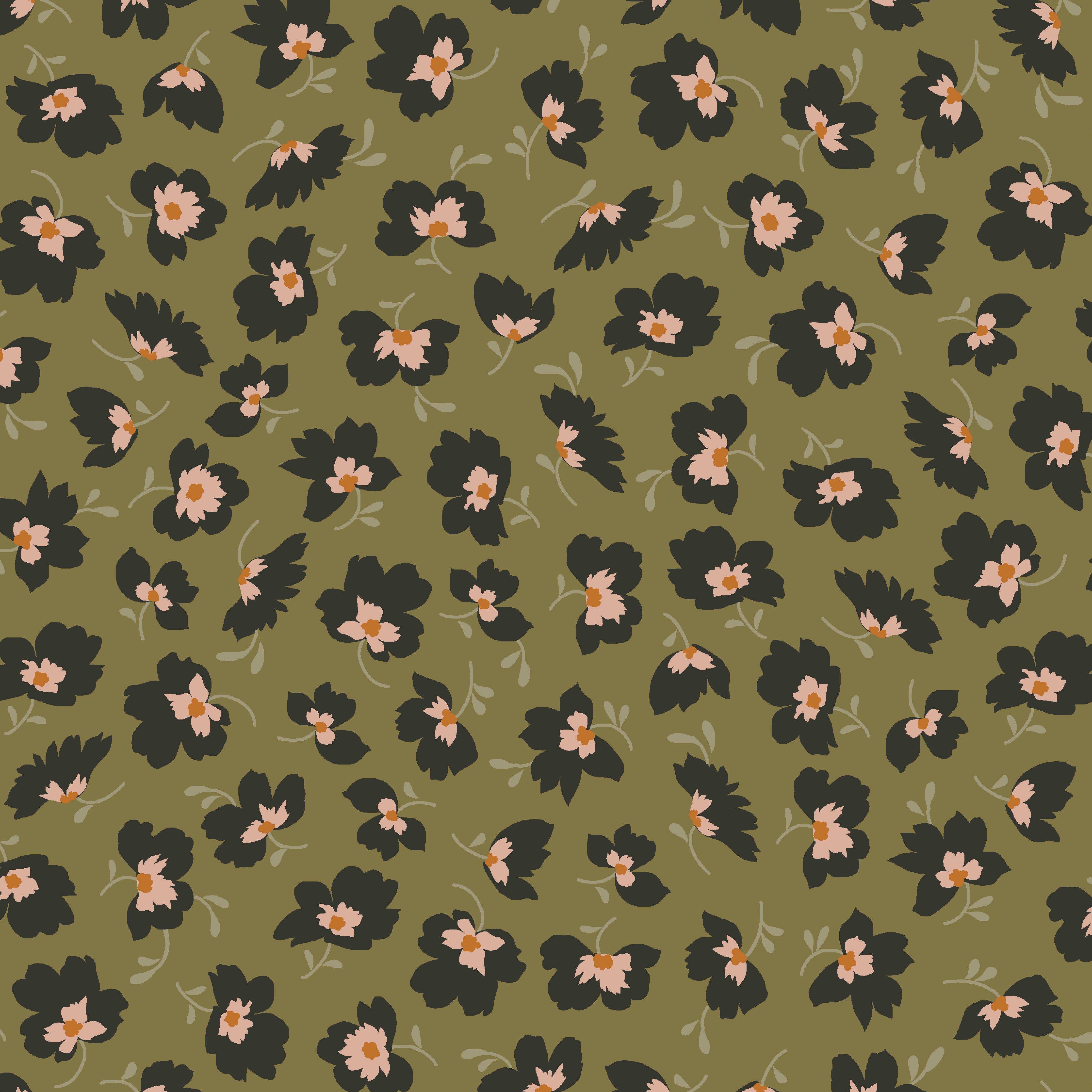 Viskosewebware Flowers auf Oliv