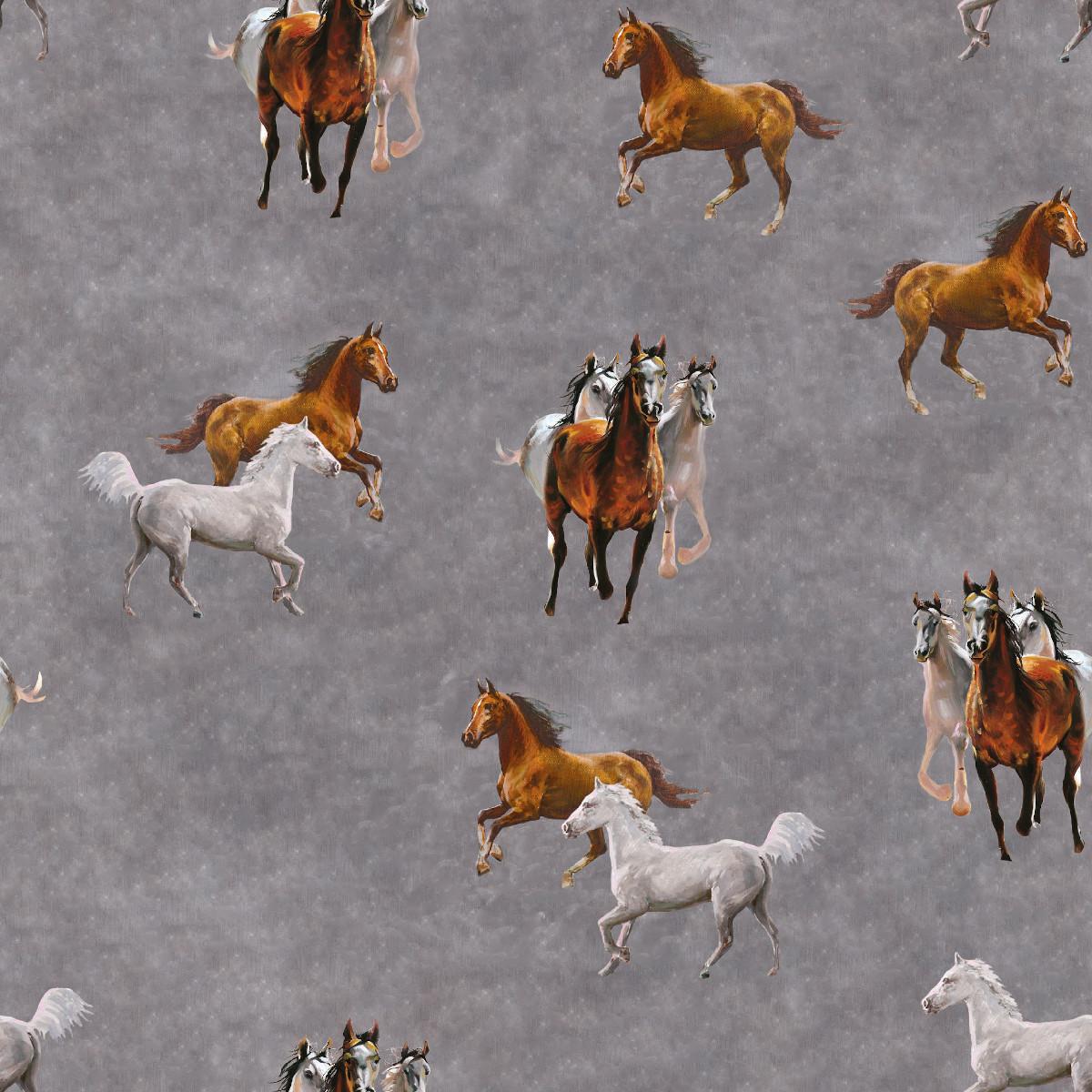 French Terry Pferde auf Grau Melange